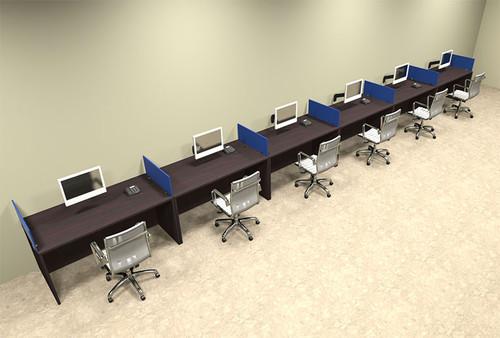 Six Person Blue Divider Office Workstation Desk Set, #OT-SUL-SPB19