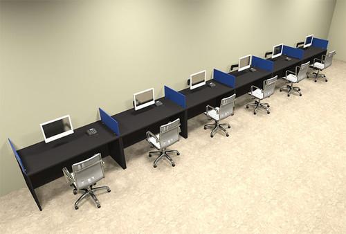 Six Person Blue Divider Office Workstation Desk Set, #OT-SUL-SPB20