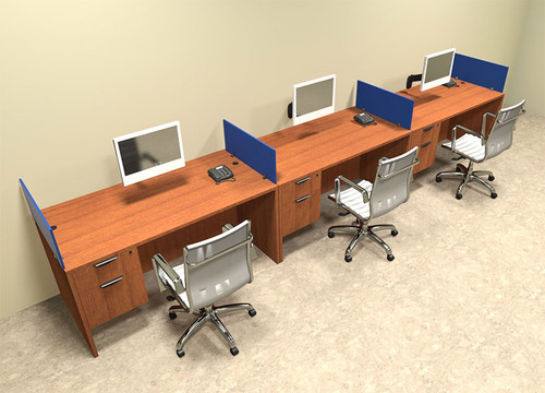 Three Person Blue Divider Office Workstation Desk Set, #OT-SUL-SPB25