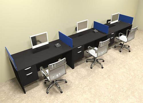 Three Person Blue Divider Office Workstation Desk Set, #OT-SUL-SPB28