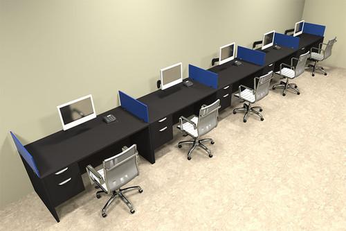 Five Person Blue Divider Office Workstation Desk Set, #OT-SUL-SPB36