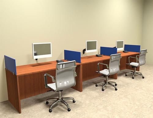 Three Person Blue Divider Office Workstation Desk Set, #OT-SUL-SPB5