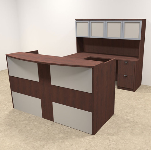 5pc U Shaped Modern Acrylic Panel Office Reception Desk, #OT-SUL-R18