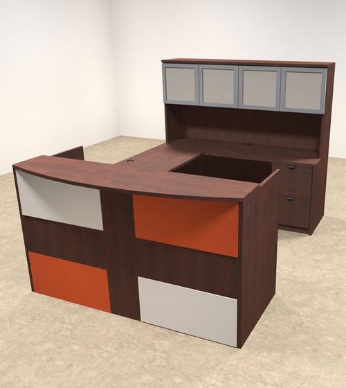 5pc U Shaped Modern Acrylic Panel Office Reception Desk, #OT-SUL-RM42