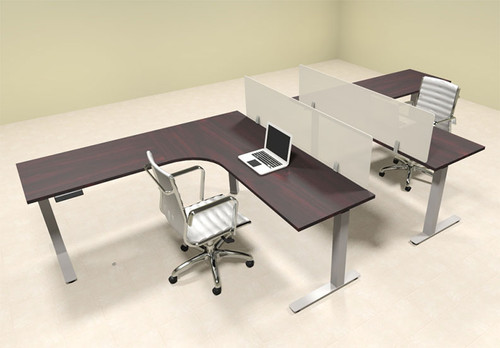 Two Persons L Shaped Power Adjustable Divider Workstation, #OF-CON-HP29