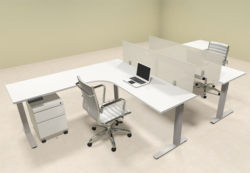 Two Persons L Shaped Power Adjustable Divider Workstation, #OF-CON-HP31