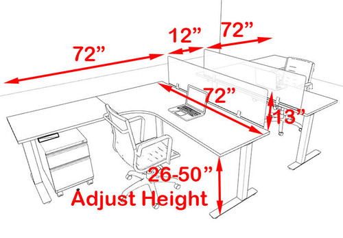 Two Persons L Shaped Power Adjustable Divider Workstation, #OF-CON-HP34
