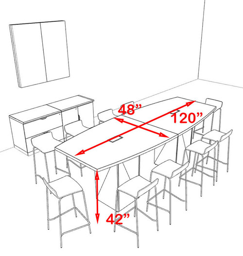 Boat Shape Counter Height 10' Feet Conference Table, #OF-CON-CT1