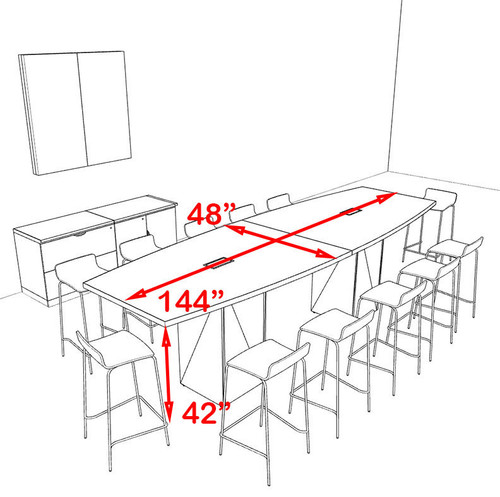 Boat Shape Counter Height 12' Feet Conference Table, #OF-CON-CT11