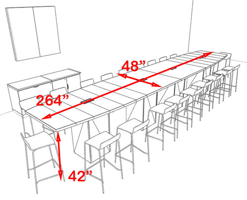 Boat Shape Counter Height 20' Feet Conference Table, #OF-CON-CT36