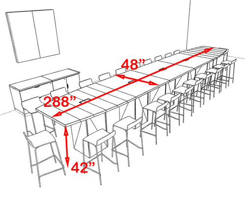 Boat Shape Counter Height 22' Feet Conference Table, #OF-CON-CT40