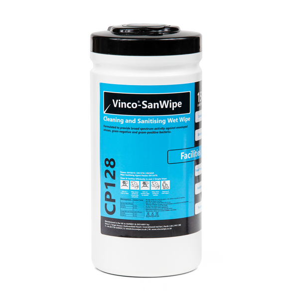Vinco-SanWipe Cleaning & Sanitising Facilities Anti-Bac and Anti-Viral Wipe 150 Wipes