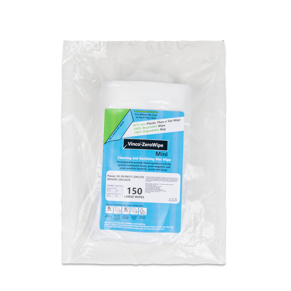Vinco-ZeroWipe Refill Bags Cleaning & Sanitising Anti-Bac and Anti-Viral Wipe 150 Wipes