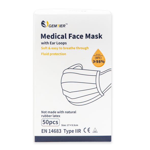 Gemtier Medical Face Mask (Surgical IIR) CE Certified Box of 10+