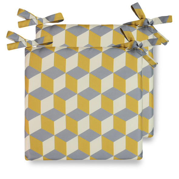 Celina Digby Water Resistant Garden Seat Pads - Cube Mustard