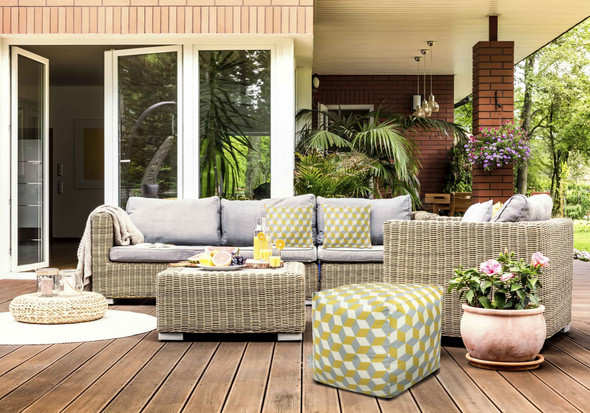 Celina Digby Water Resistant Garden Cube Pouffe - Cube Mustard