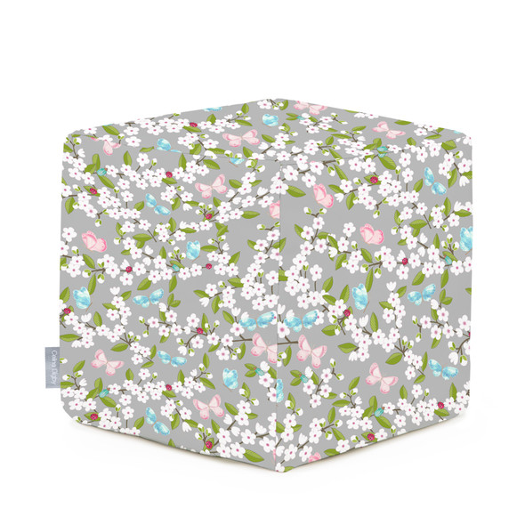 Celina Digby Water Resistant Garden Cube Pouffe - Cherry Blossom Grey