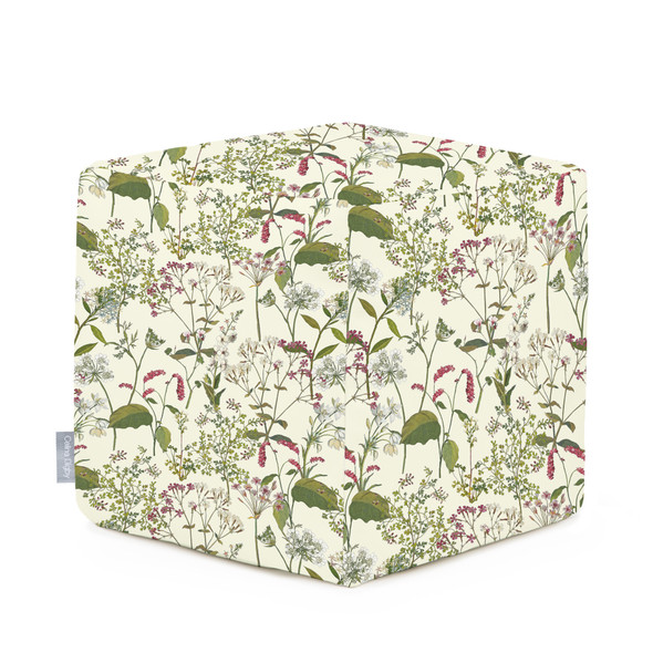 Celina Digby Water Resistant Garden Cube Pouffe - Welsh Meadow Cream