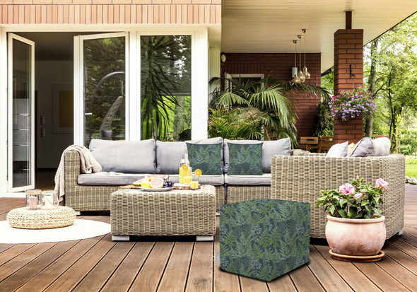 Celina Digby Water Resistant Garden Cube Pouffe - Ferns
