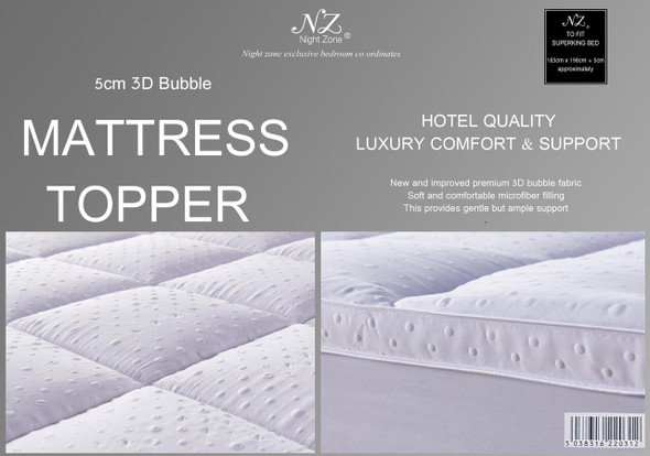 Mattress Topper 5cm 3D Bubble - 100% Microfiber Filling & Outer