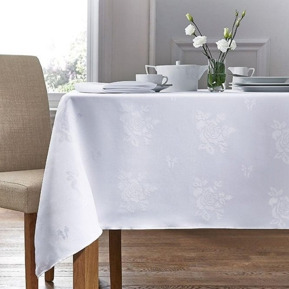 White Damask Rose Tablecloth
