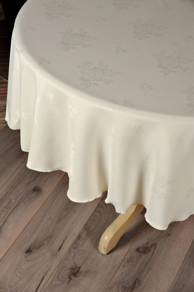 100% Polyester Damask Rose Circular Tablecloths - 210 GSM