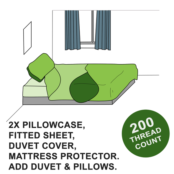 Luxury Student Bedding Pack (Fitted Sheet, Duvet Cover, Pillowcases & Mattress Protector)