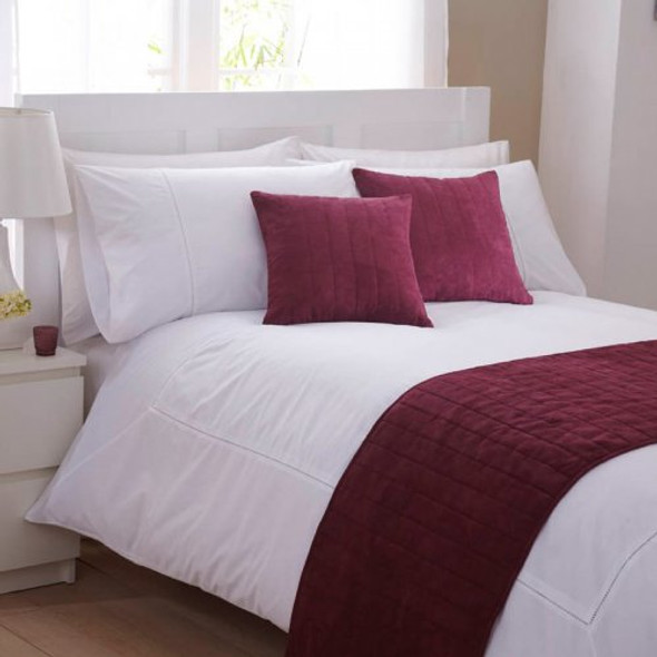 Faux Suede Burgundy Bed Runner 50x240cm