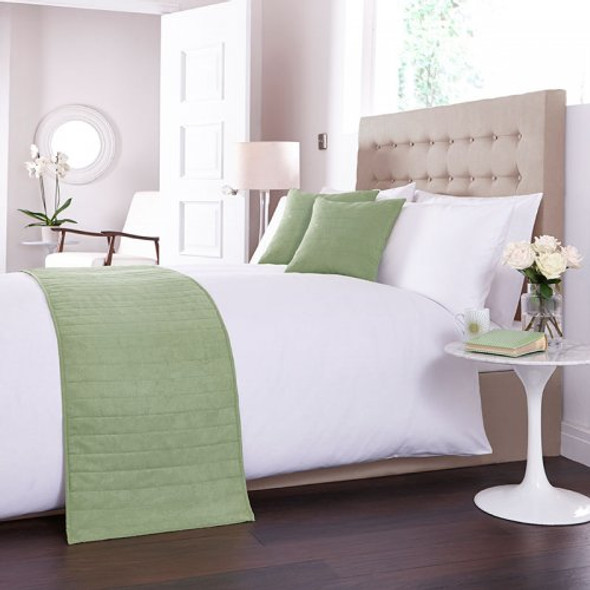 Faux Suede Green Bed Runner 50x240cm