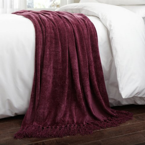 Chenille Throw 150x200cm Plum - Acrylic/Viscose Material