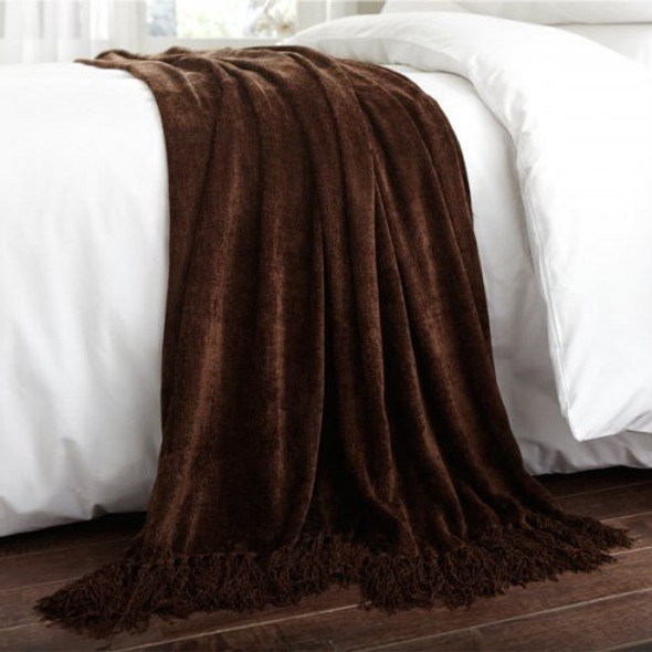 Chenille Throw 150x200cm Chocolate - Acrylic/Viscose Material
