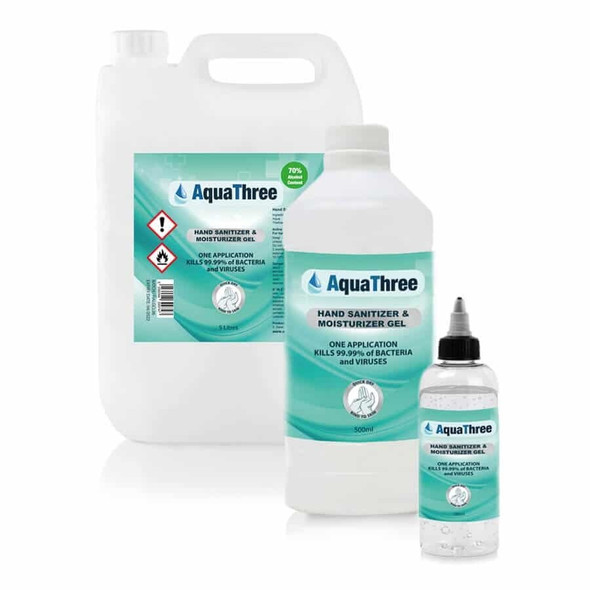 AquaThree UK Made WHO Formula 70% Alcohol Hand Sanitiser Gel Refills - 5L