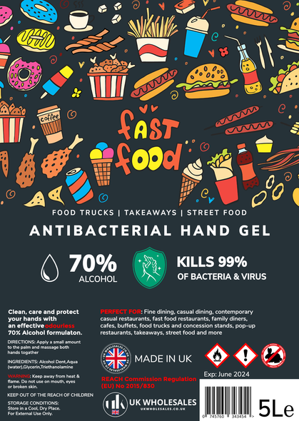 Fast Food Antibacterial Hand Gel 5L