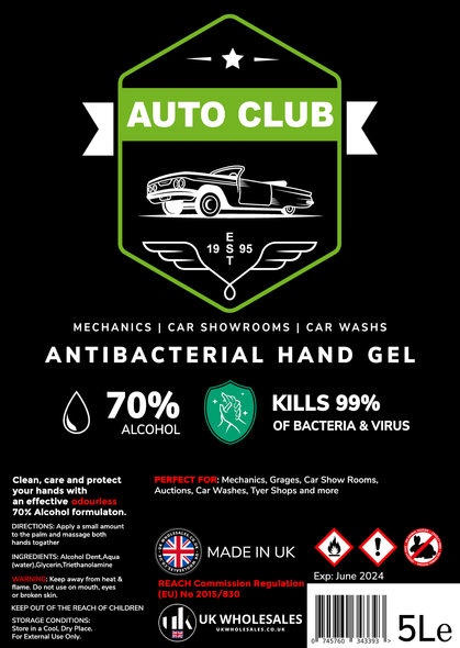 Auto Club Antibacterial Hand Gel 5L