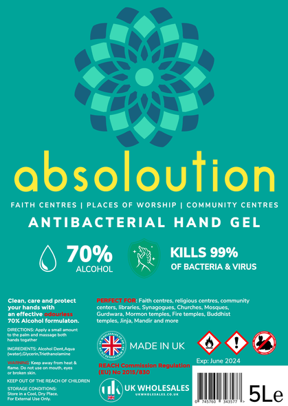 Absoloution Antibacterial Hand Gel 1L