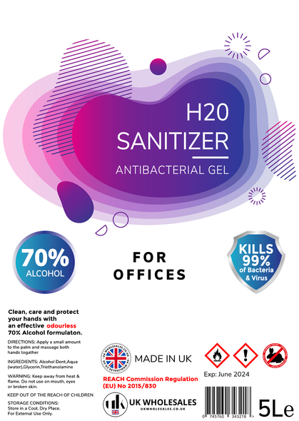 H2O Sanitizer Antibacterial Hand Gel 5L