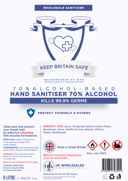 Wholesale Hand Sanitizer 70% Alcohol (5L, 1L, 500ml)