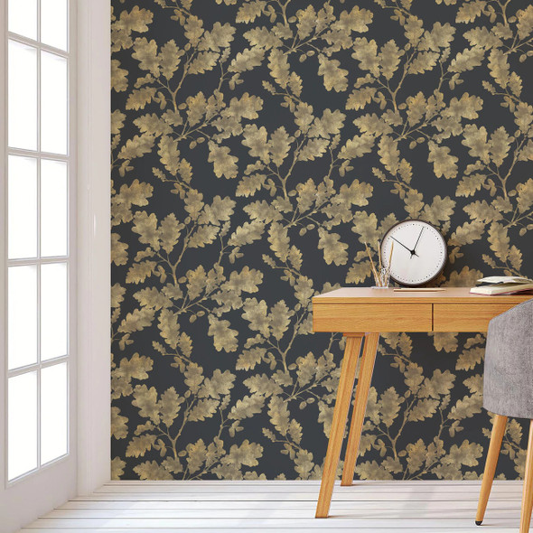 Celina Digby Woodland Wallpaper - Golden Oak Graphite