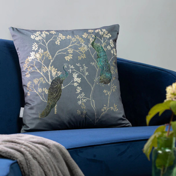 Celina Digby Opulent Velvet Cushion - Peacock Grey