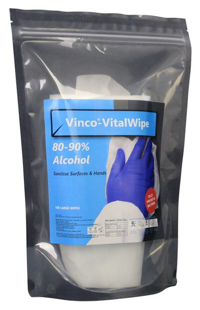 Vinco®-VitalWipe Pouch for Alcohol Sanitising 100 Large Wipes Per Stand Up Pouch