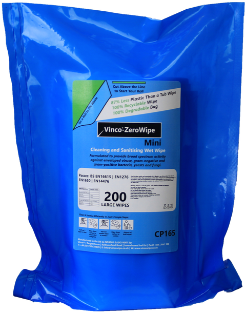 Vinco-ZeroWipe Refill Bags Cleaning & Sanitising Anti-Bac and Anti-Viral Wipe 200 Wipes