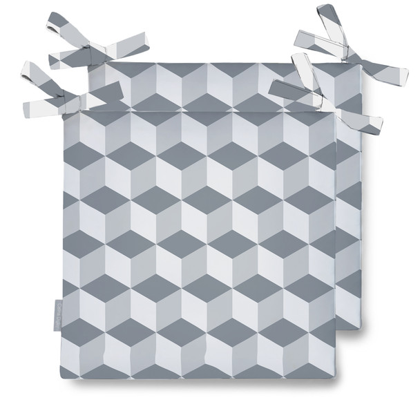 Celina Digby Water Resistant Garden Seat Pads - Cube Grey