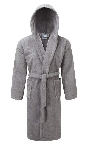 Silver Hooded Terry Towelling Bathrobe