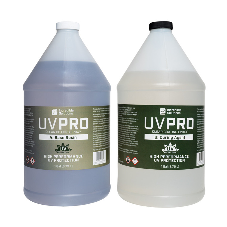 A gallon bottle of Incredible Solutions' UV Pro epoxy clear coat part A and part B.