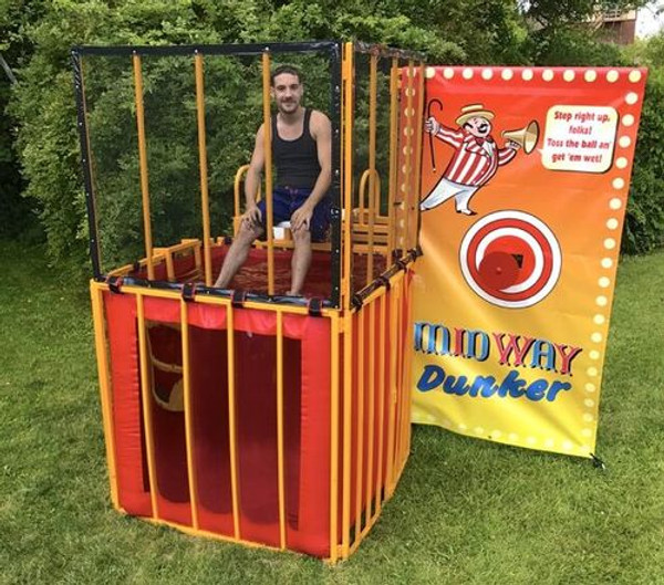 Portable, collapsible, professionally manufactured dunk tank.