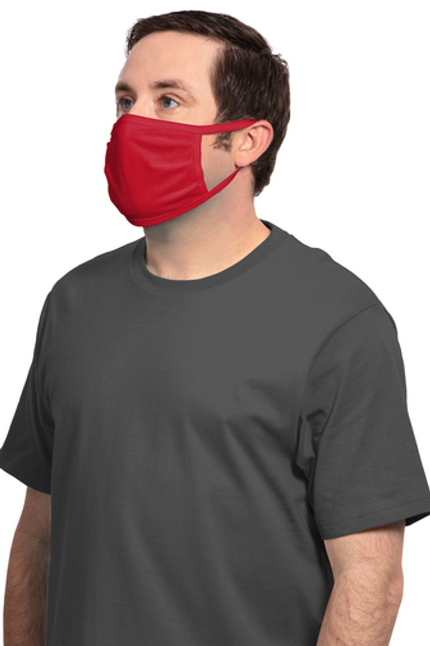 FACE MASK INCLUDES YOUR ONE COLOR IMPRINT-COTTON KNIT-THREE-PLY,100% Cotton Jersey Covers Wearer's Nose and Mouth