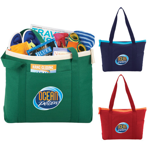 Color Pop Zippered Cotton Boat Tote - 7900-56