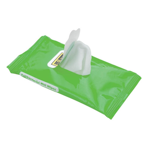ANTIBACTERIAL WET WIPES- Resealable pack of 10 antibacterial wet wipes are non-alcohol based and FDA approved.