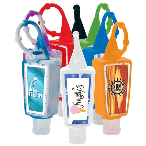 HAND SANITIZER  BOTTLE - One ounce (30mL) hand sanitizer bottle has a colorful silicone bottle holder and easy to attach beaded silicone strap. Gel has a slight citrus scent, is 62% alcohol and FDA approved.