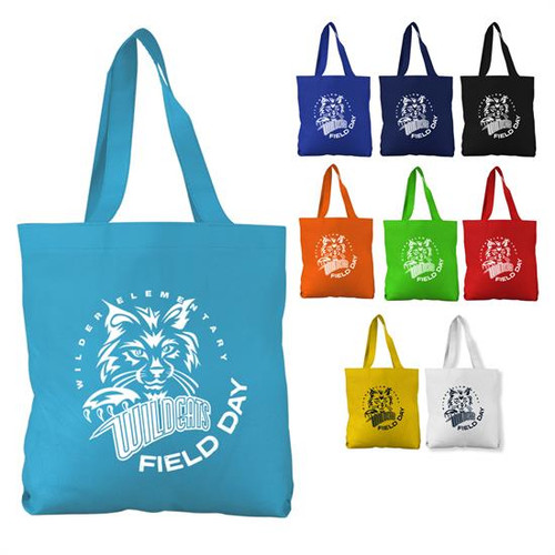 """The Economy - 13"""" Non-woven Tote - Made with 80gsm non-woven polypropylene One of our best sellers, this non-woven polypropylene tote bag offers you an incredible opportunity to build brand awareness!"""